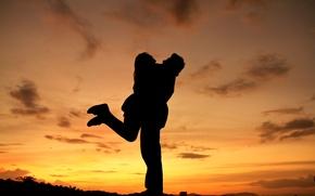 Обои небо, девушка, облака, любовь, закат, природа, фон, widescreen, обои, настроения, женщина, чувства, силуэт, пара, wallpaper, ...