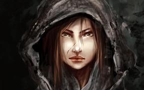 Картинка девушка, волосы, арт, капюшон, зеленые глаза