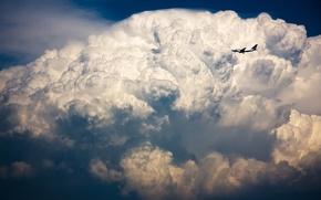 Обои самолет, небо, шторм, Грозовая туча