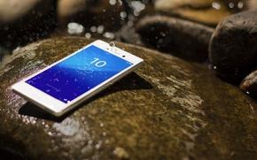 Картинка Smartphone, Sony, Drops, Xperia, Aqua, Stone, White, Android, Water
