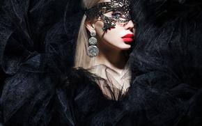 Картинка макияж, взгляд, девушка, фон, маска, модель