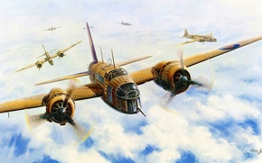 Картинка aircraft, war, art, airplane, aviation, dogfight, raf, british bomber