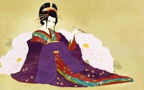 Картинка девушка, цветы, фон, арт, гейша, мундштук, кимоно, пионы