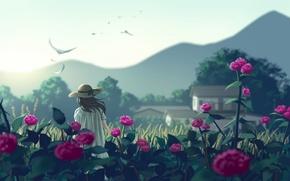 Картинка девушка, цветы, горы, птицы, природа, шляпа, аниме, арт, nauimusuka