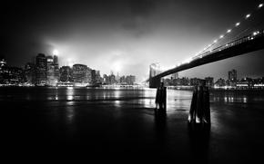 Обои мост, ночь, город, черно-белое фото