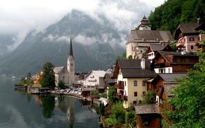 Картинка горы, город, дома, Озеро, Австрия, Hallstatt, Гальштат, Халльштатт