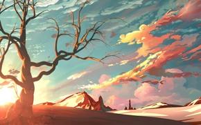 Картинка небо, горы, дерево, живопись, art, красивые картинки