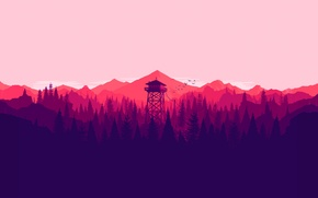Картинка white, tower, trees, pink, mountain, birds, purple, violet, salmon, lookout