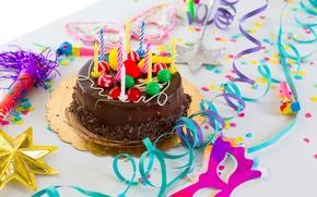 Картинка свечи, торт, серпантин, happy birthday, с днем рождения