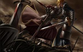 Картинка трава, оружие, кровь, меч, арт, копье, битва, saber, fate stay night, рана, mordred