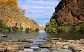 Картинка небо, трава, листья, облака, деревья, камни, скалы, водопад, каньон, canyon, falls, водв