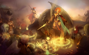 Картинка оружие, люди, девушки, дракон, эльф, игра, меч, доспехи, воин, рыжая, Фэнтези, плащ, lineage, руна