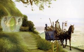 Обои Гендальф, Gandalfs Return, John Howe, Фродо, хоббит, властилин колец