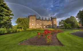 Картинка цветы, парк, замок, радуга, Ирландия, Ireland, Kilkenny Castle