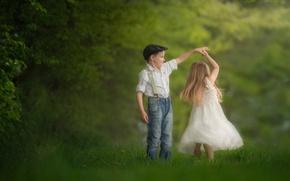 Обои девочка, танец, мальчик