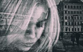 Картинка девушка, город, портрет, прохожие, наложение