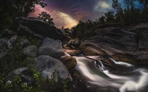 Картинка пейзаж, закат, камни, водопад, обои от lolita777