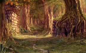 Картинка деревья, тропа, джунгли, арт, руины, тропинка