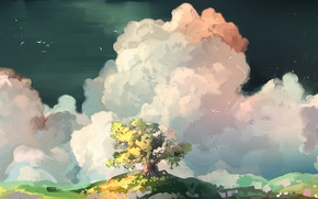 Картинка облака, птицы, дерево, арт, нарисованный пейзаж