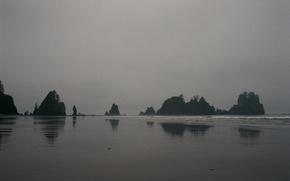Картинка waves, beach, rocks, fog, seaside, mist, cloudy