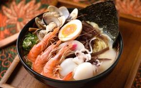 Обои морепродукты, кальмары, яйцо, креветки, моллюски