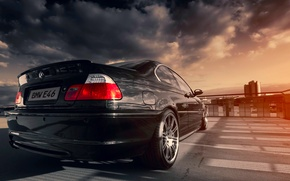 Картинка BMW, black, sun, E46, 328ci