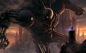 Картинка город, оружие, фон, человек, робот, меч, фантастика. арт