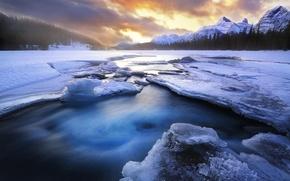 Картинка лед, зима, лес, снег, горы, озеро, расвет