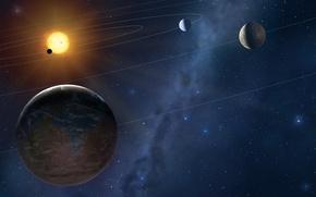 Картинка star, sun, planets, orbits