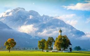 Обои Церковь Святого Кальмана, Sankt Coloman, Швангау, замок, Замок Нойшванштайн, Neuschwanstein Castle, деревья, Германия, церковь, Bavaria, ...