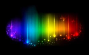 Обои бабочки, радуга, спектр, искорки