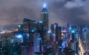 Картинка ночь, город, огни, дома
