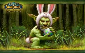 Картинка пасха, яйцо, орк, World of warcraft, заяц