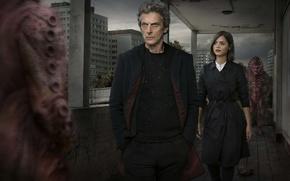Картинка Дженна Коулман, Jenna Coleman, Двенадцатый Доктор, мужчина, девушка, Twelfth Doctor, Clara Oswald, Doctor Who, Питер …