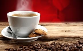 Картинка кофе, горячий, зерна, печенье, good morning