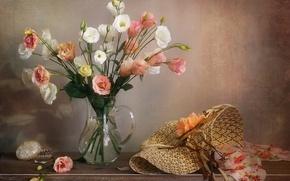 Картинка цветы, шляпа, шкатулка, ваза, платок, эустома