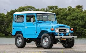 Картинка car, Toyota, blue, old, japanese, Land Cruiser
