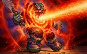 Обои Hearthstone, дворф, топор, арт, магия, огонь, WoW, World of Warcraft, Лавовый шок, Lava Shock, Blackrock ...