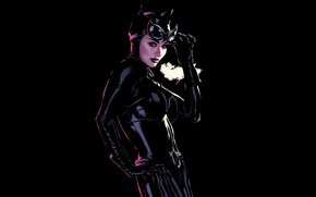 Картинка кошка, черный, женщина, макияж, костюм, black, комиксы, woman, art, leather, comics, hero, catwoman, costume, thief, …