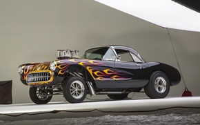Картинка Corvette, Classic, Gasser, Flames, Bowtie