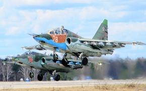 """Картинка пара, штурмовик, дозвуковой, бронированный, """"Грач"""", Sukhoi Су-25"""