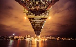 Картинка lights, bridge, night, Australia, reflection, Sydney, bay, cityscape