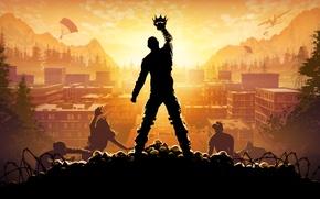 Обои Корона, Небо, Свет, Облака, Деревья, H1Z1: King of the Kill, Зомби, Парашютисты, Электровышка, King of ...