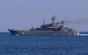"""Картинка корабль, большой, ВМФ, десантный, Черноморский Флот, БДК, проект 775, """"Цезарь Куников"""", на ходу"""