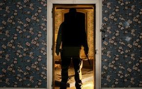 Обои дверь, нож, призрак, обои
