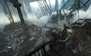 Картинка шторм, дождь, корабль, пираты, убийца, ассасин, Эдвард Кенуэй, Assassin's Creed IV: Black Flag, Кредо Убийцы …
