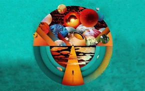 Картинка colors, music, Muse, cosmos, planets, resistance, horizon, turquoise, silhouette, perspective, cosmic, Sphere, the resistance