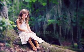 Картинка лес, природа, девочка