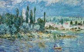 Обои Клод Моне, картина, лодка, дома, деревья, Пейзаж с Грозой