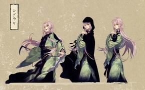 Картинка цепь, иероглифы, кимоно, серый фон, косы, розовые волосы, visual novel, ken ga kimi, zantetsu